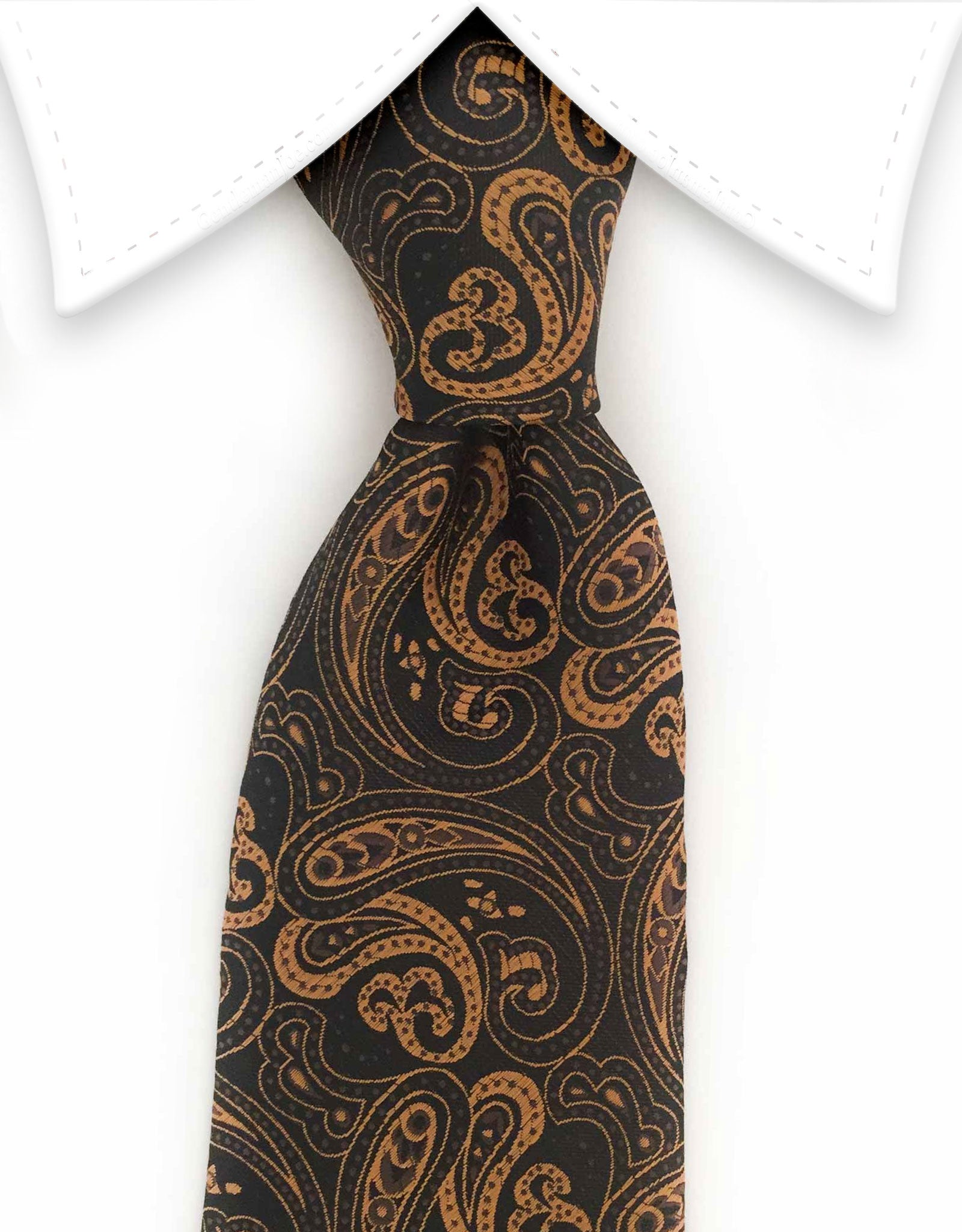 Golden Copper Paisley Necktie