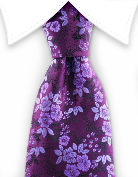 grape purple silk tie with lilac flowers