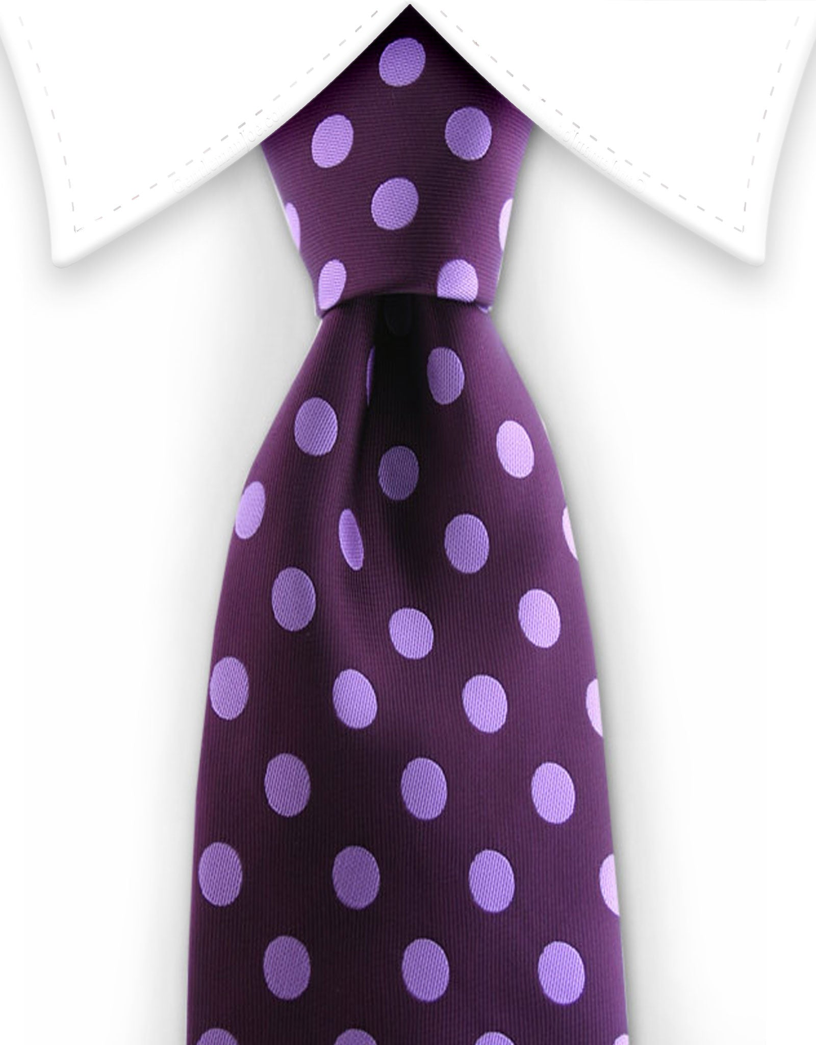 Purple tie with lilac polka dots