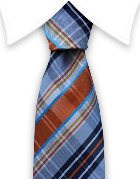 Gray, Orange, Navy plaid tie
