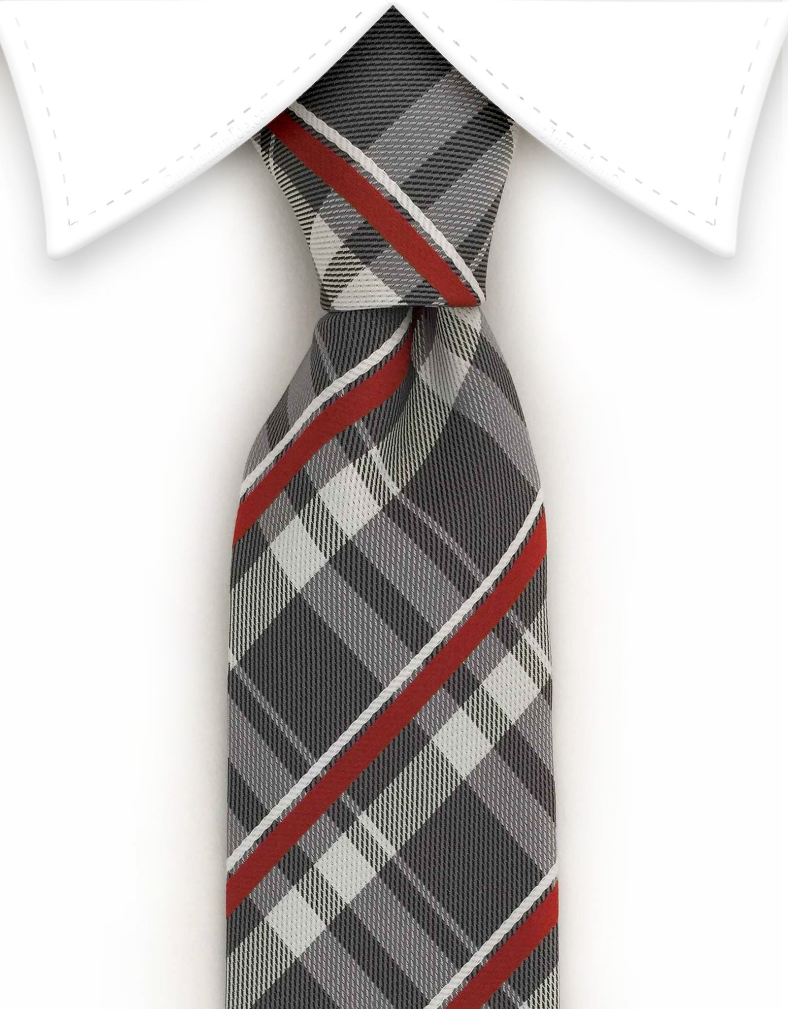 Charcoal & burnt orange striped narrow tie