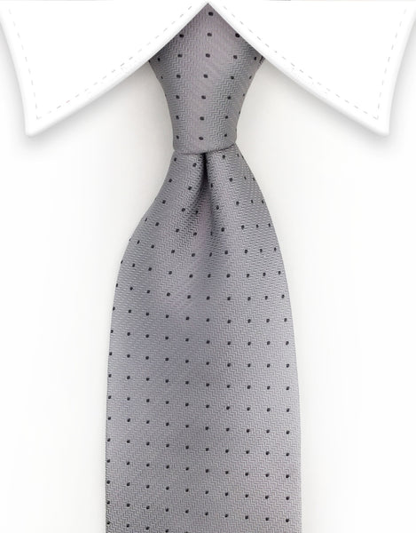 silver tie with gray pin dots