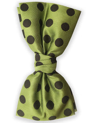 Green Bowtie with Khaki Polka Dots