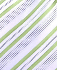 White & Green Striped Mens Tie