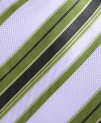 White & Khaki Green Striped Tie