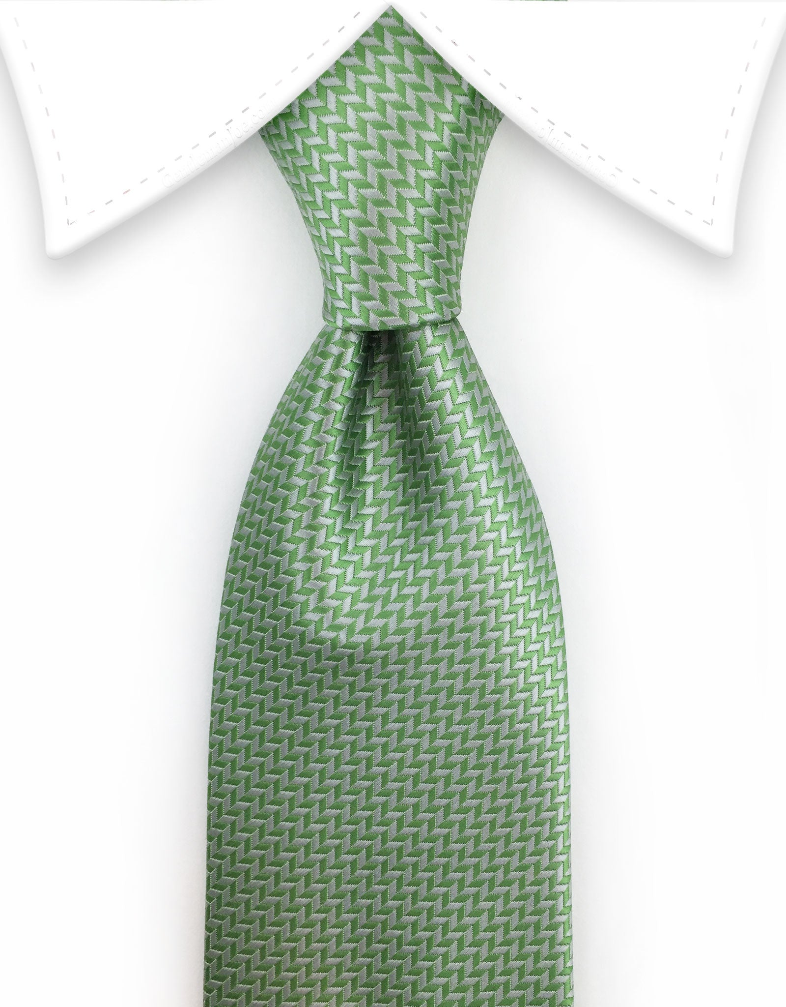 light green and silver tie