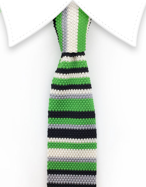 lime green & black striped knit tie