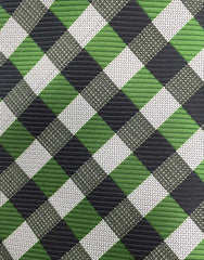 Green & Black Checked Tie Close Up