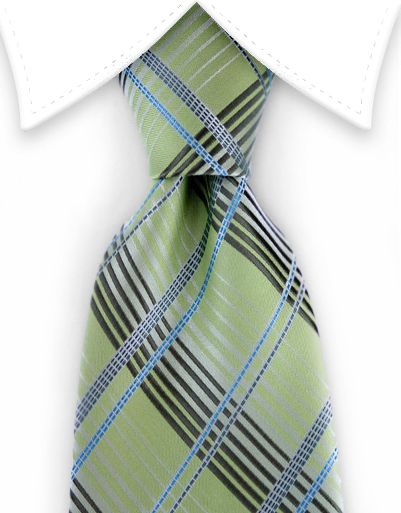 Bright Green Plaid Tie with Blue