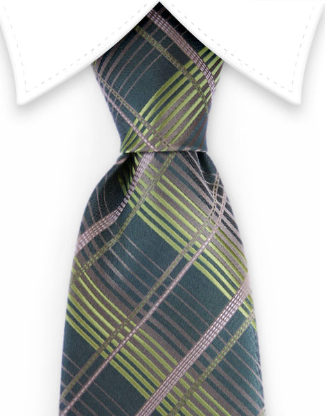 khaki olive green plaid tie