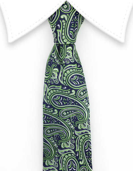 Green paisley extra long tie