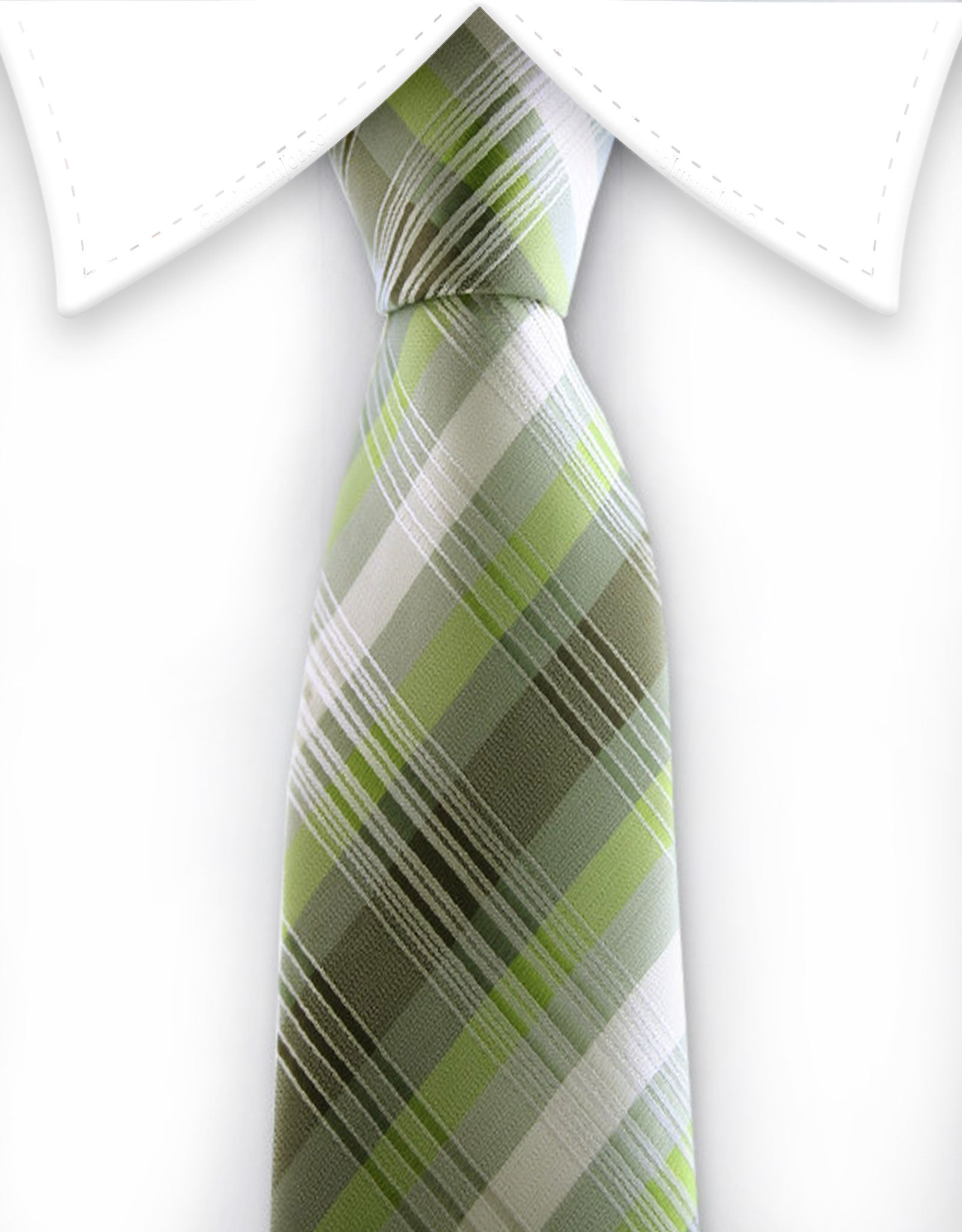 Green Plaid Skinny Necktie