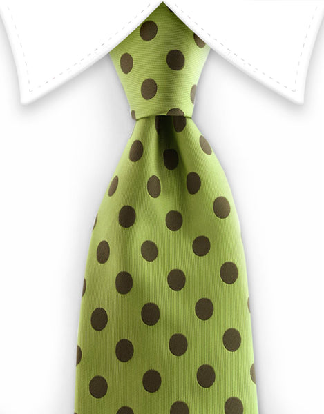Green necktie with khaki polka dots