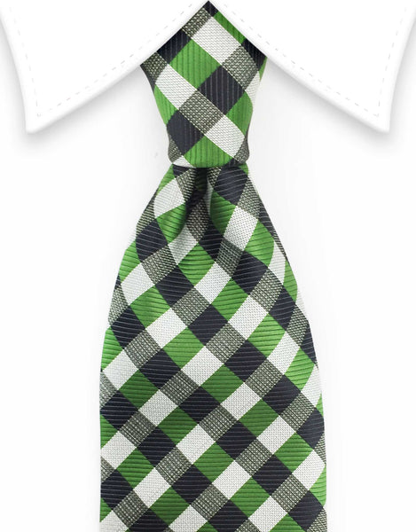 Green & Black Checked Tie