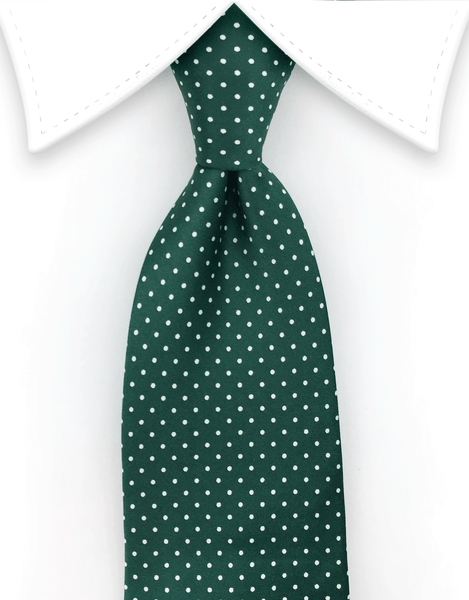 Green tie with white pin dots