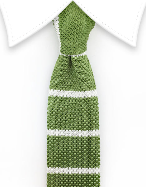Light green and white striped knitted tie