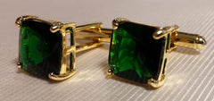 gold and green crystal cufflinks