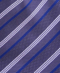 Charcoal Gray, Blue, White Striped Tie