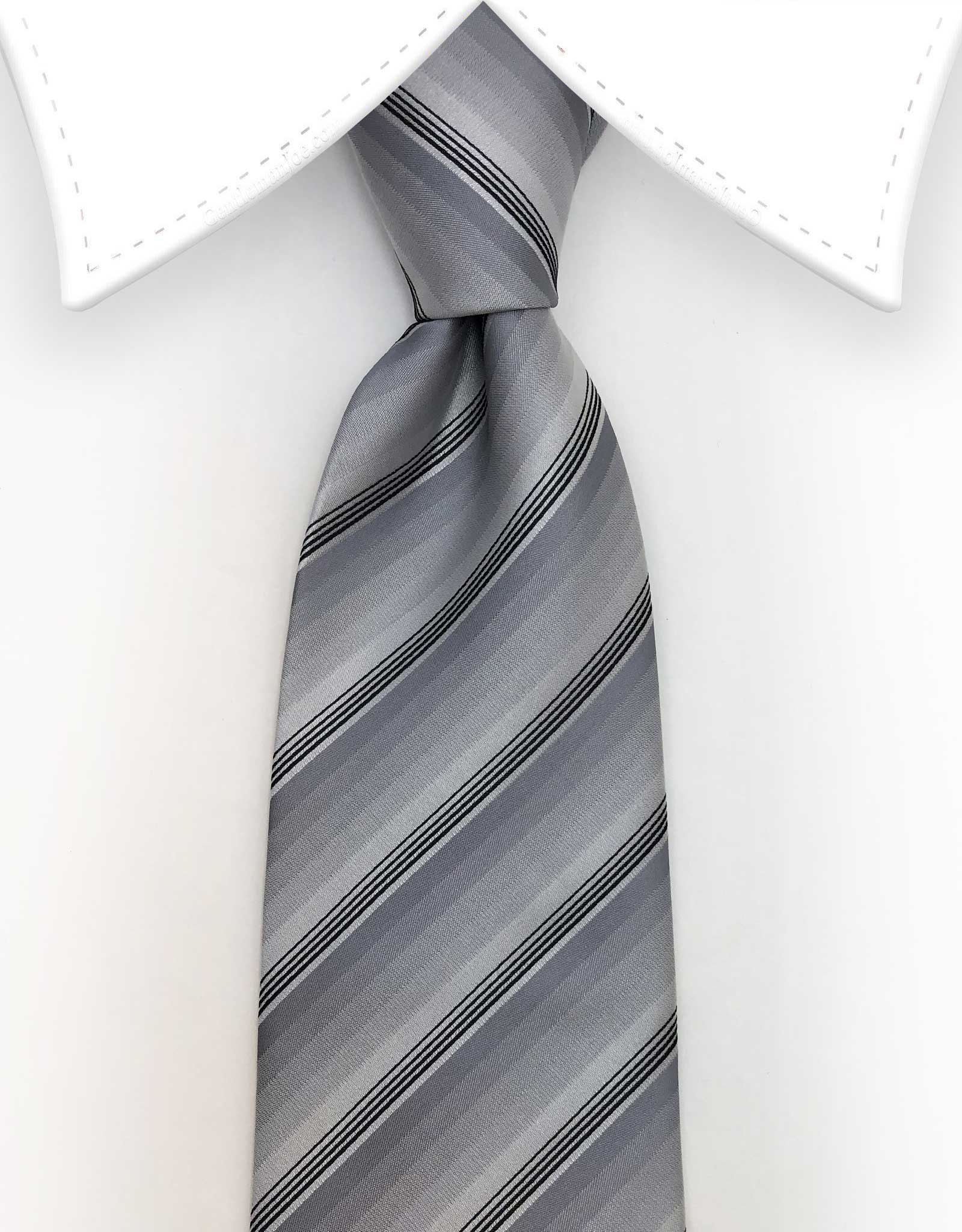 Silver and Black Thin Stripe Tie