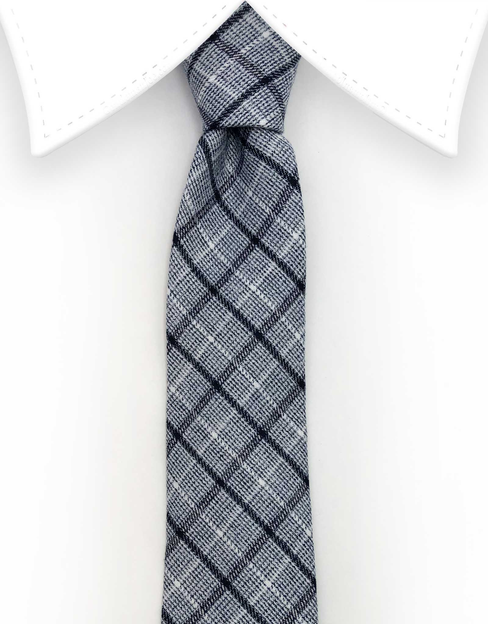 Grey and Black Plaid Tie