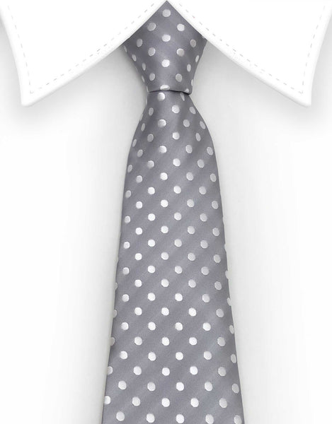 Elegant Silver Extra Large Tie with white polka dots