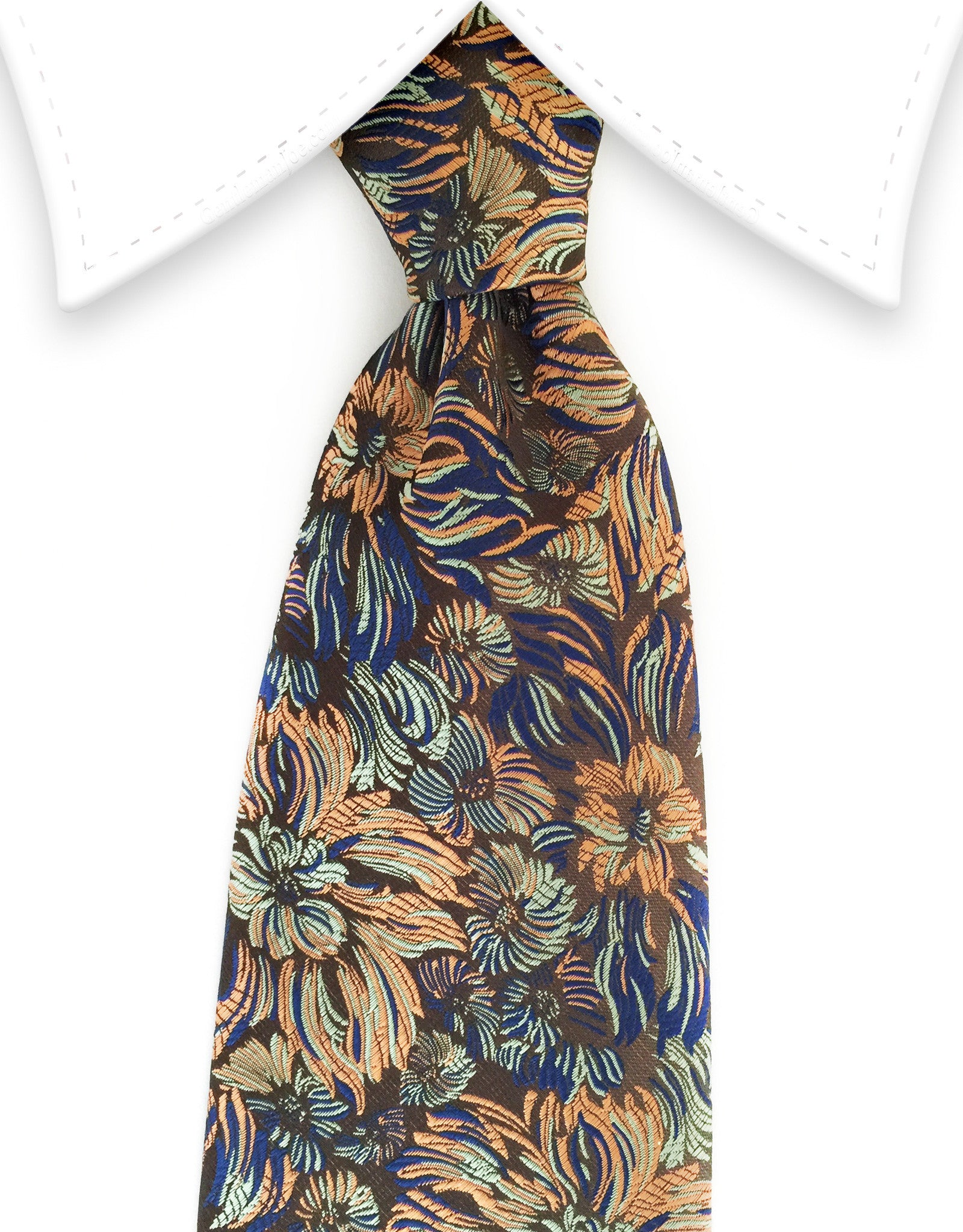 Orange Green floral tie