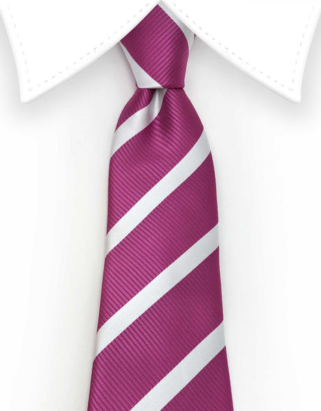 Fuchsia Pink and White Striped Tie
