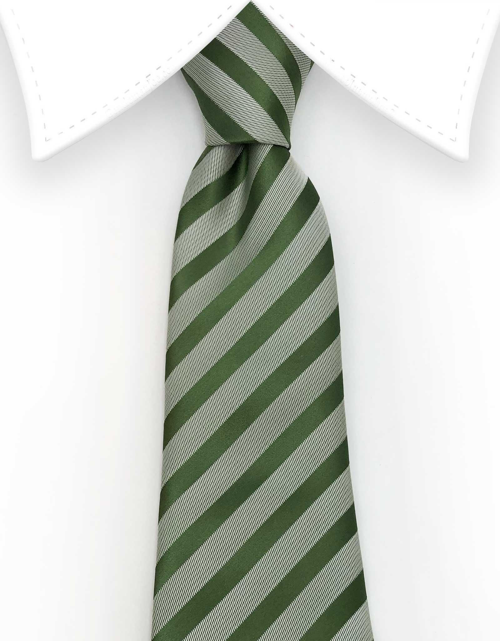 hunter green and silver stripe necktie