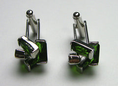 Green glass cufflinks