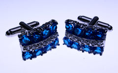 blue crystal cuff links