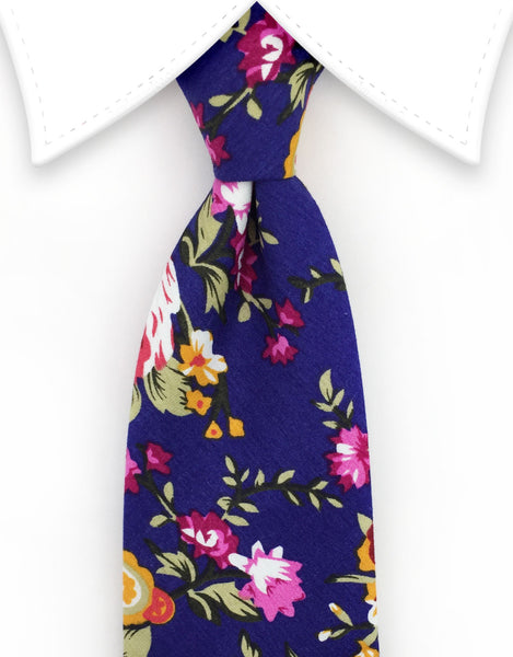 Indigo Purple Floral Men's Tie