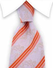 Ivory paisley tie with orange stripes