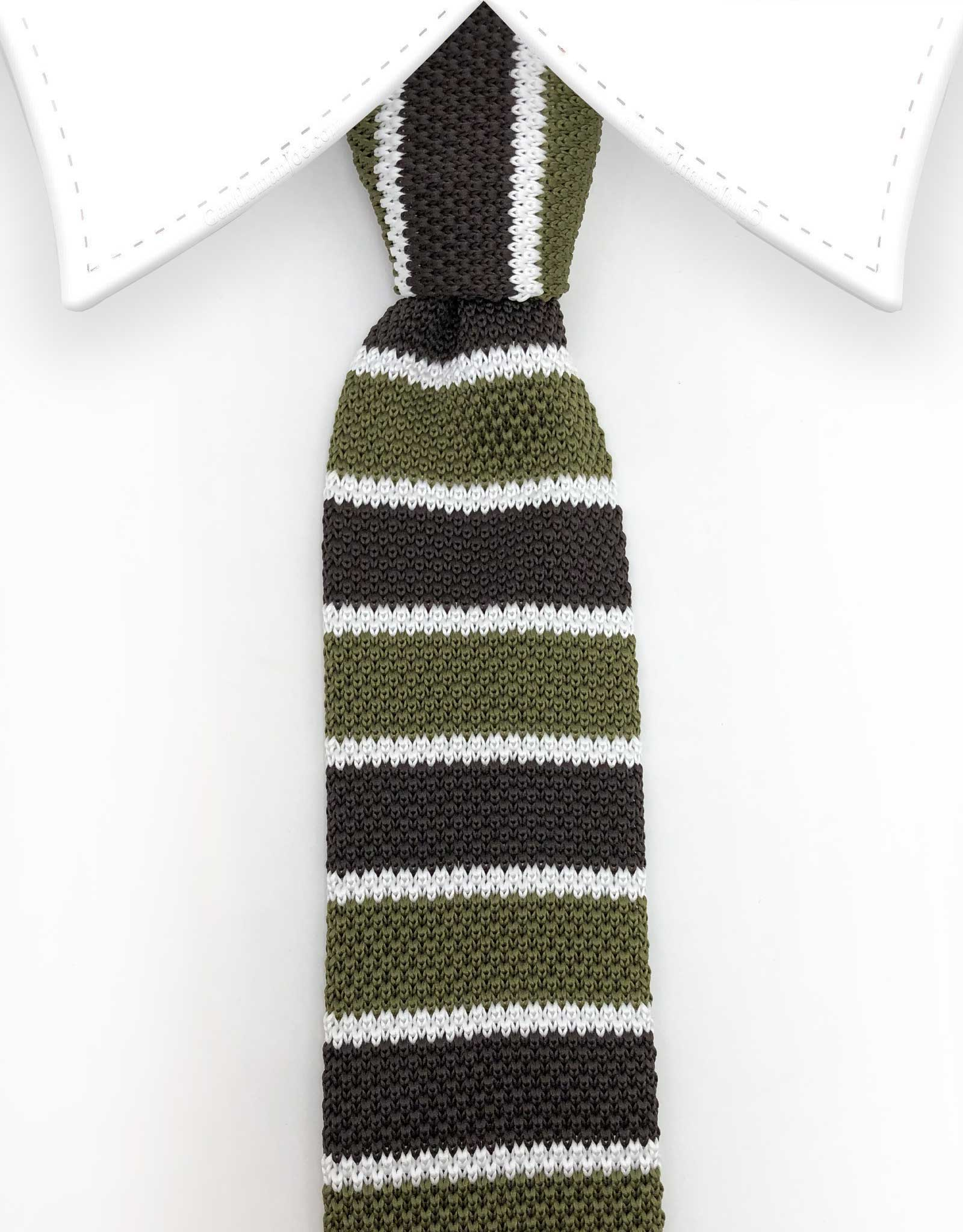 green brown knitted tie
