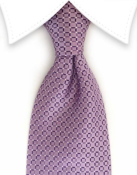 light purple tie patterned with squares