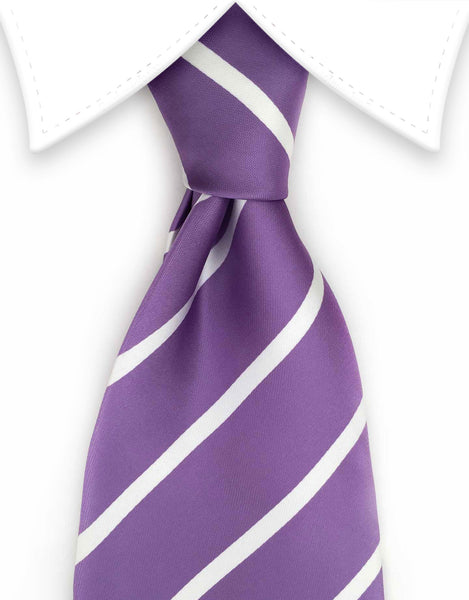 lavender purple & white stripe extra long tie