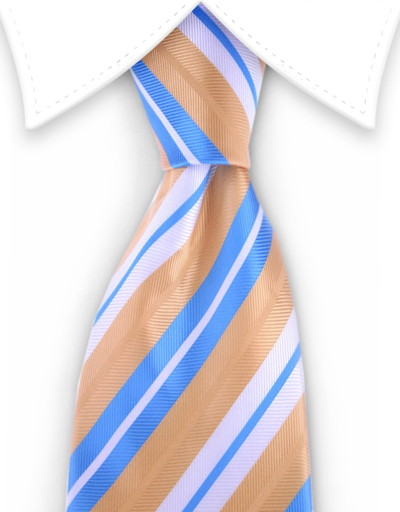 Light blue, apricot & white tie
