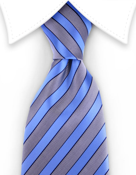 Light Blue & Silver Striped Tie