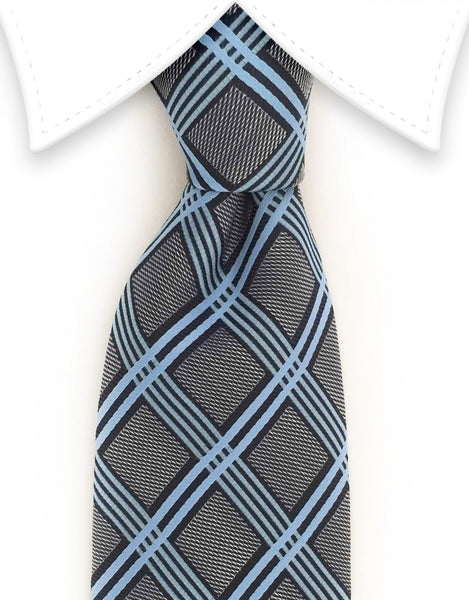 charcoal & light blue crisscross tie
