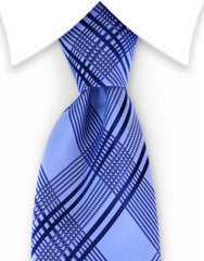 Light and Dark Blue Plaid Tie