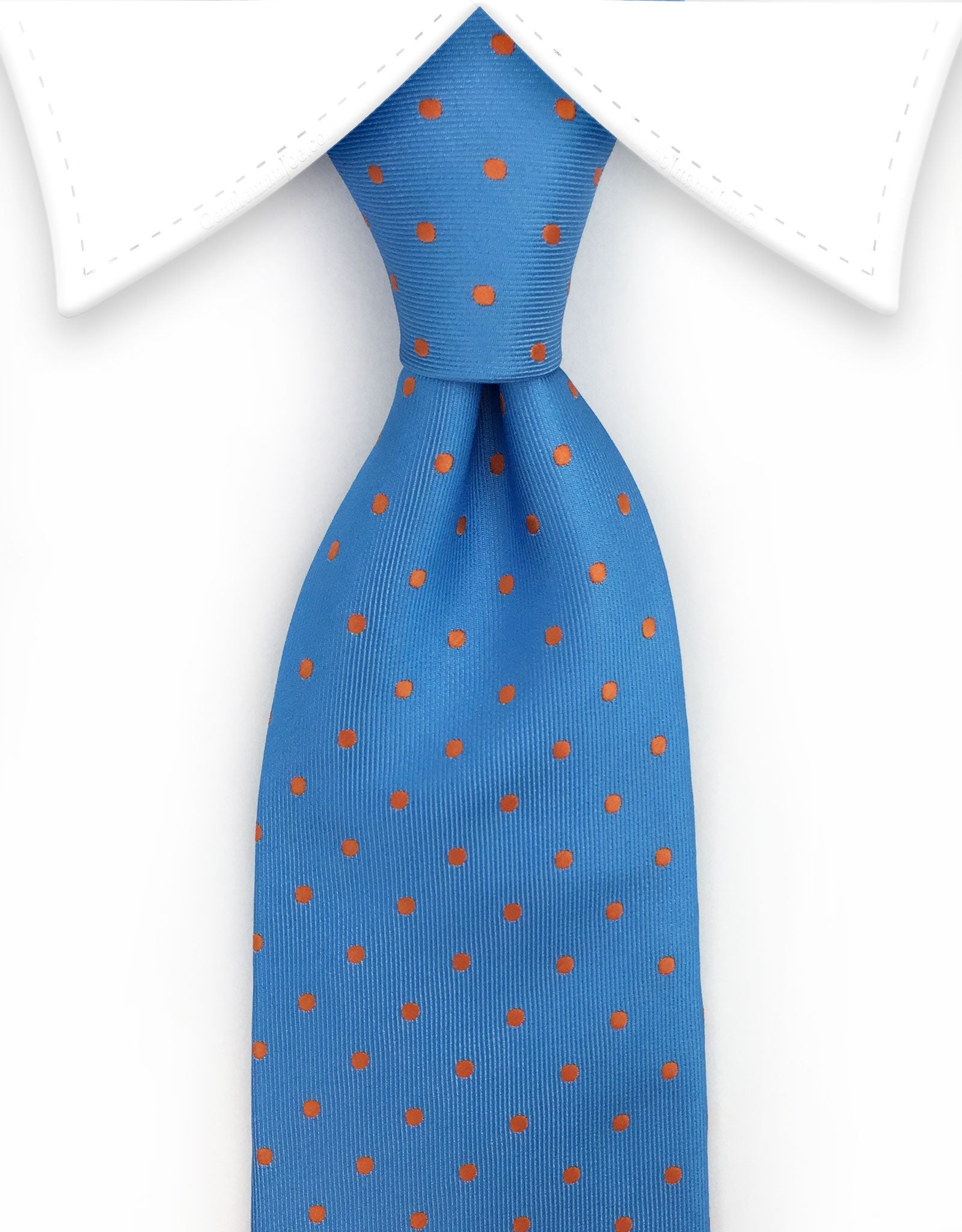 light blue & orange polka dot tie