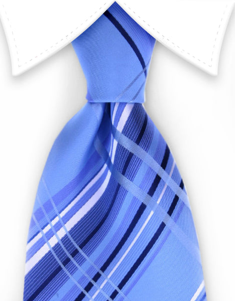 Light & Dark Blue plaid tie