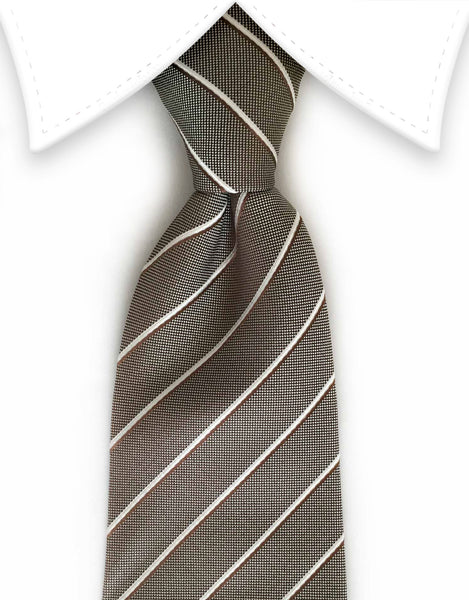 Light Brown & White Striped Tie