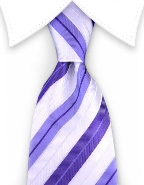 Purple and White Striped Tie
