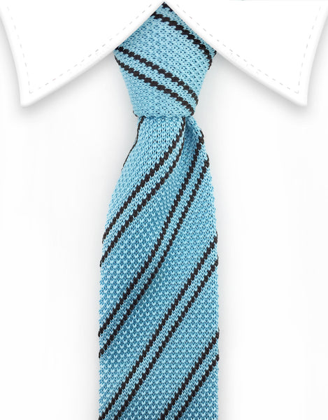 Light blue & black striped knit tie