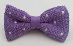 lilac purple knitted bow ties