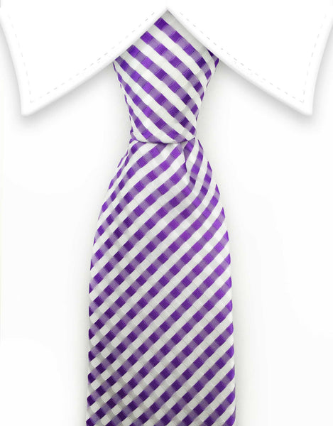 Lilac and white checkered extra long tie