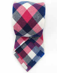 blue, white and pink cotton necktie