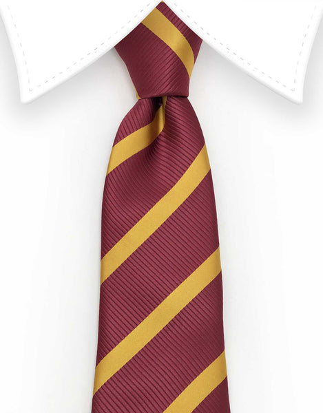 Burgundy and Mustard Yellow Extra Long Tie