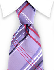 light mauve purple plaid necktie