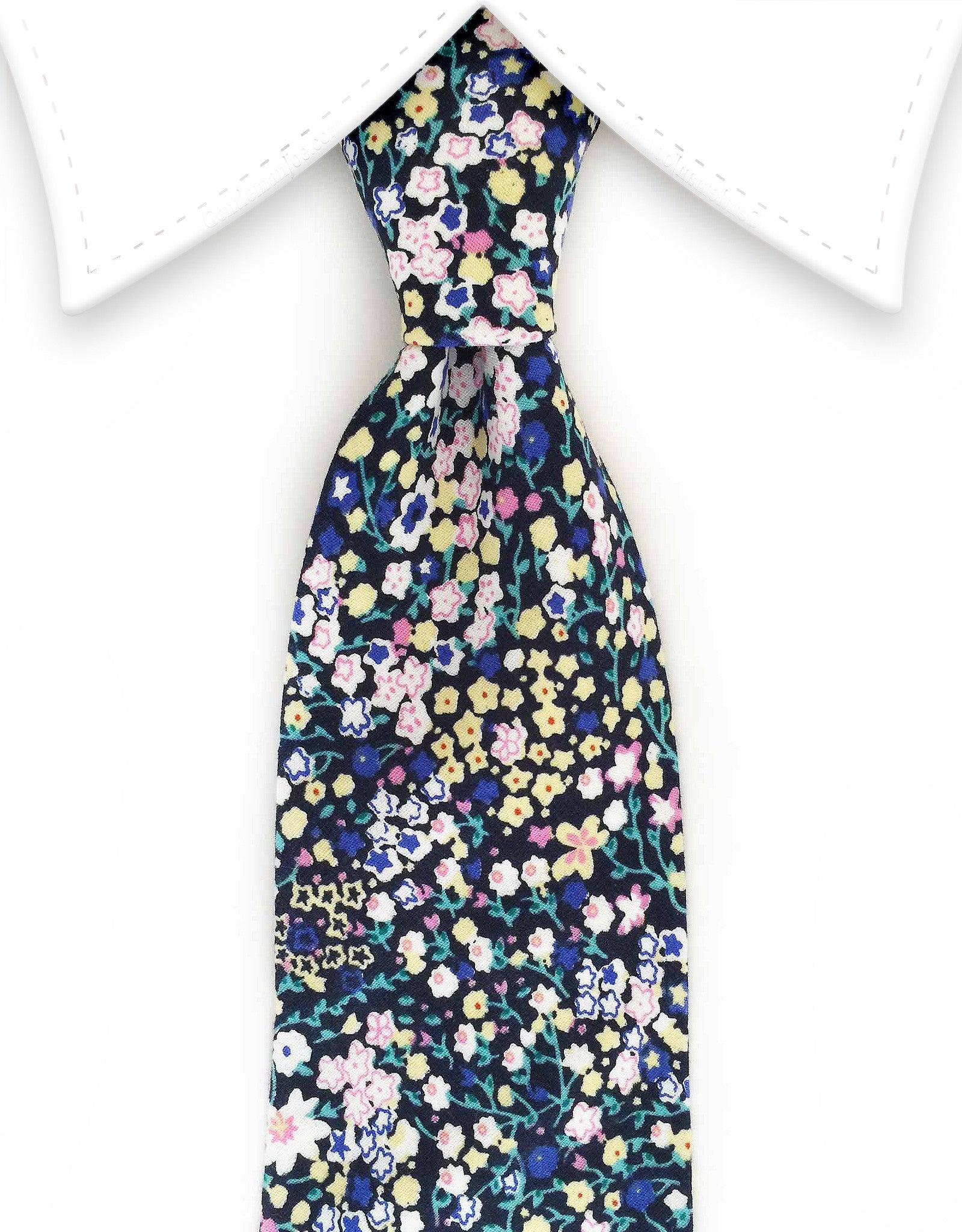 Mini yellow, white, pink, blue floral tie
